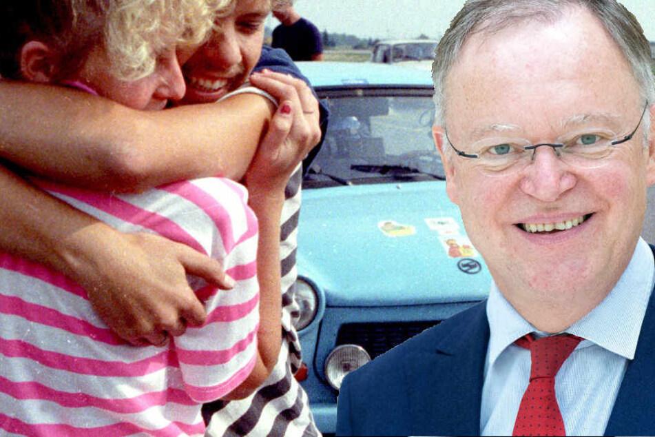 """Ministerpräsident Stephan Weil (SPD) sucht nach dem Pärchen """"ausm Osten""""."""