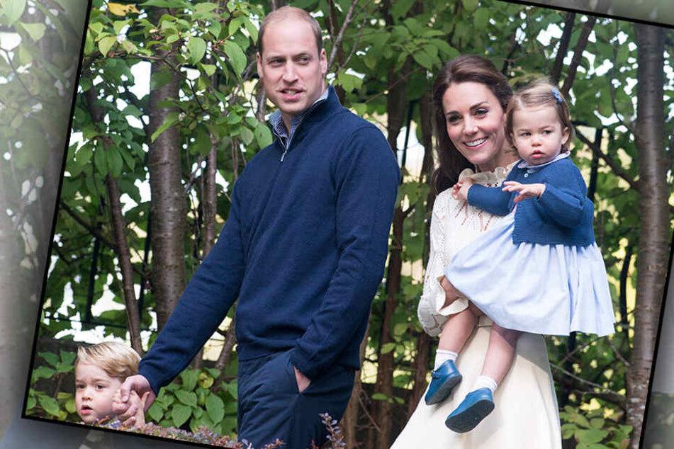 Großbritanniens Prinz William und Herzogin Kate mit den Kindern Prinz George (l) und Prinzessin Charlotte.