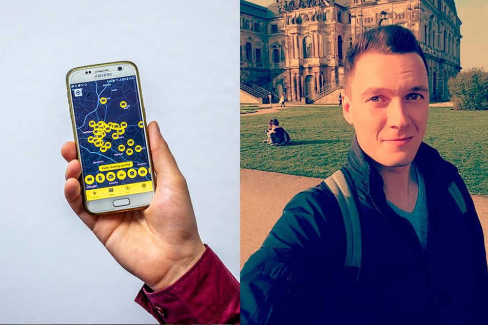 """Die App """"Dresden Heart"""" zeigt Public Viewings in der Stadt an. Er hat das Handy-Programm entwickelt: Daniel Steinigen (27) aus Dresden."""