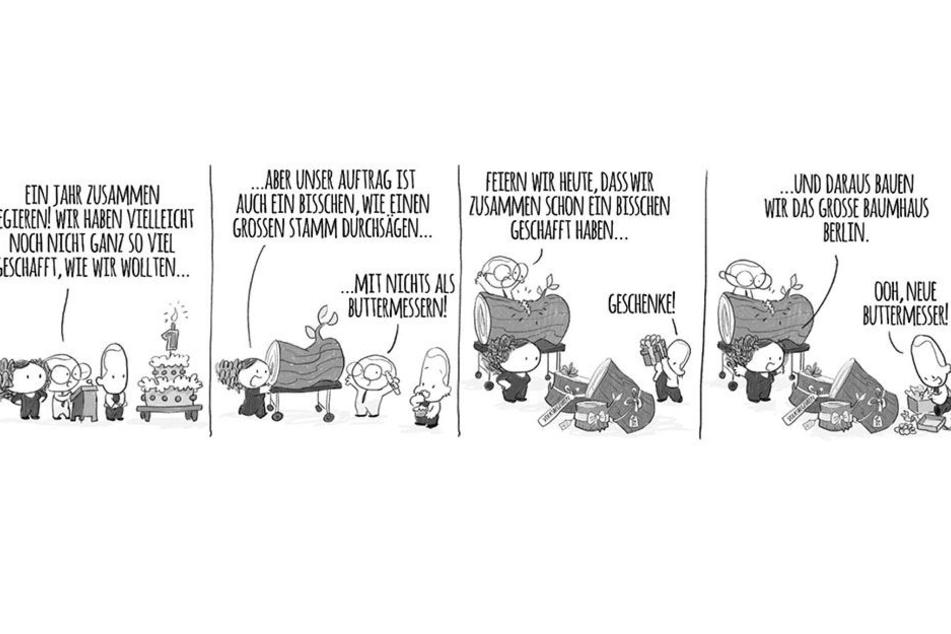 Zum einjährigen Jubiläum von Rot-Rot-Grün präsentierte der Berliner Senat einen selbstironischen Comic von Naomi Fearn.