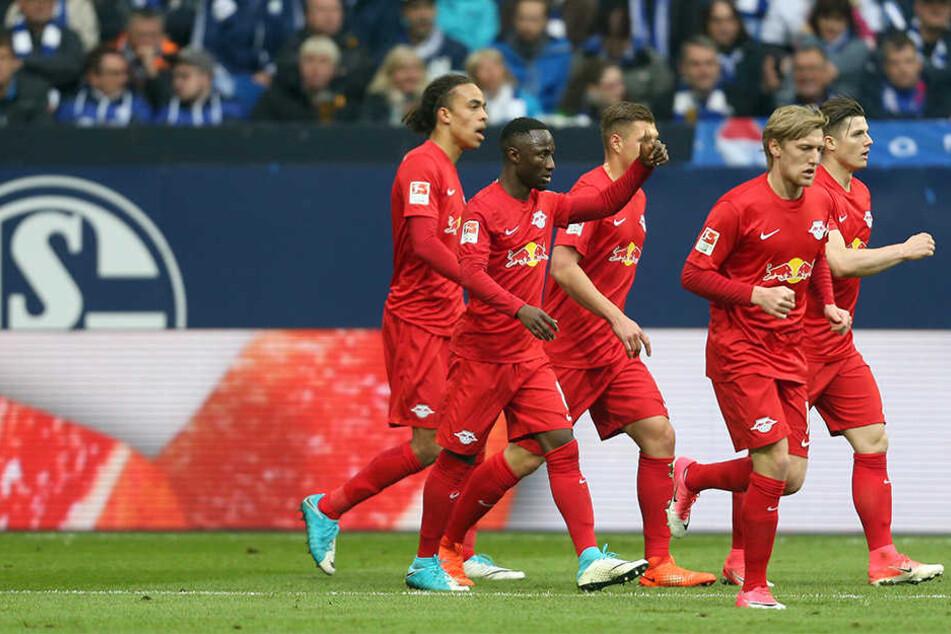 Yussuf Poulsen, Naby Keita, Willi Orban, Emil Forsberg und Marcel Sabitzer (v.l.n.r.) bejubeln die 1:0-Führung von Timo Werner. Am Ende reichte es nur zu einem 1:1.