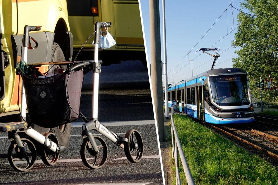 Schwerer Unfall in Chemnitz: Frau mit Rollator von Straßenbahn erfasst