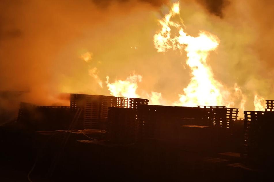 Flammen-Inferno bei Vollbrand einer Industriehalle: Feuerwehr im Großeinsatz