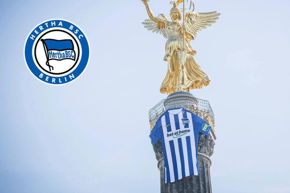Warum hängt da ein riesiges Hertha-Trikot an der Siegessäule?