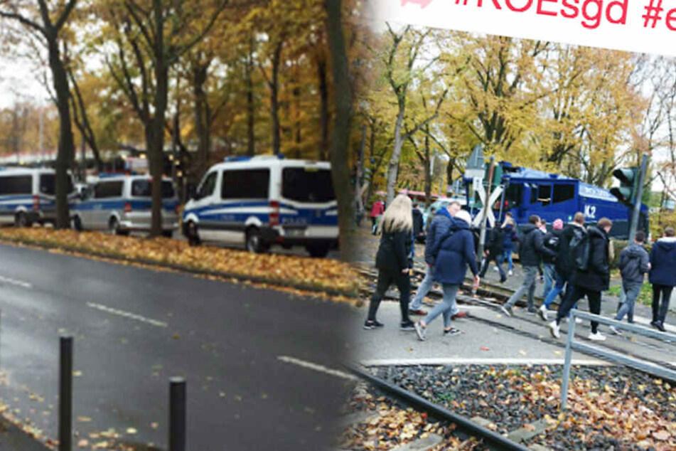 Die Polizei hat Wasserwerfer aufgefahren.