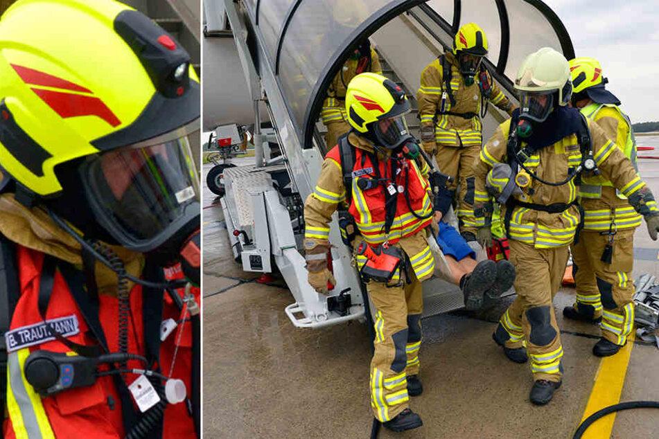Am Flughafen Dresden wurden die Brandbekämpfung und Rettung von Menschen nach einer Notlandung trainiert.