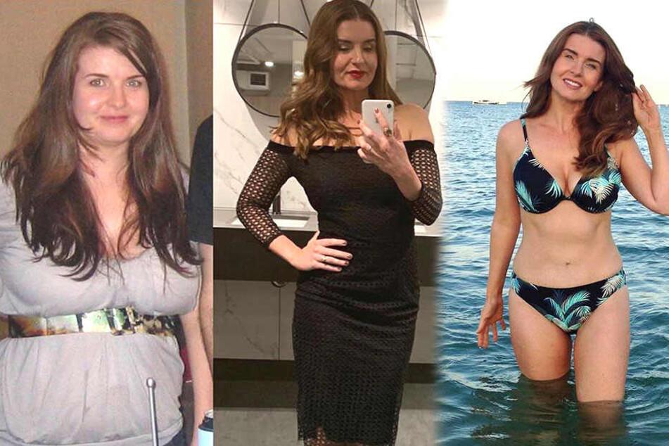 Emma Hamlin (42) hat mittlerweile (rechts) deutlich weniger Pfunde als früher (links) auf den Rippen.