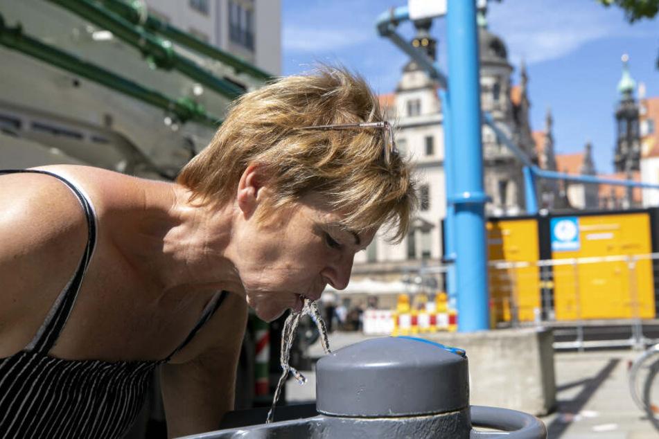 Karin Krabben (56) trinkt an der Schloßstraße.