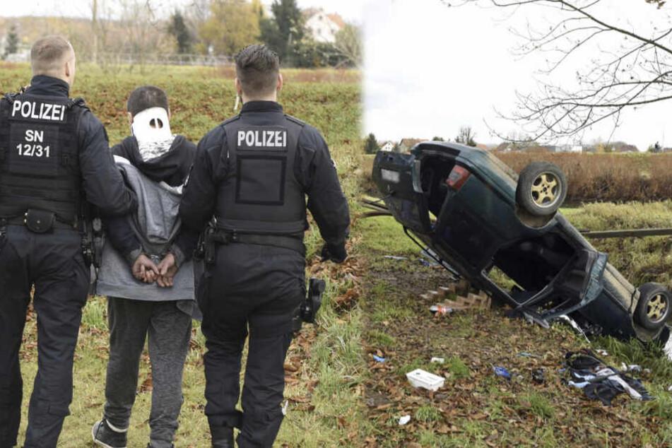 Mann haut vor Polizei ab und baut heftigen Unfall, Frau schwer verletzt!