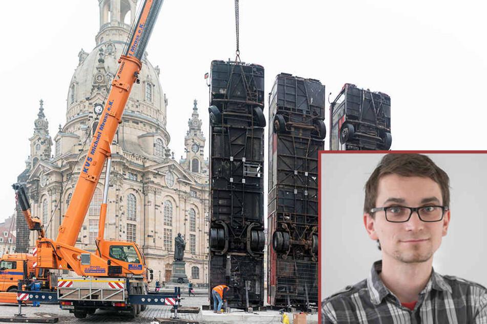 Am Montag wurden die Schrott-Busse vor der Frauenkirche aufgestellt. TAG24-Redakteur-Dirk Hein hat dazu eine Meinung.