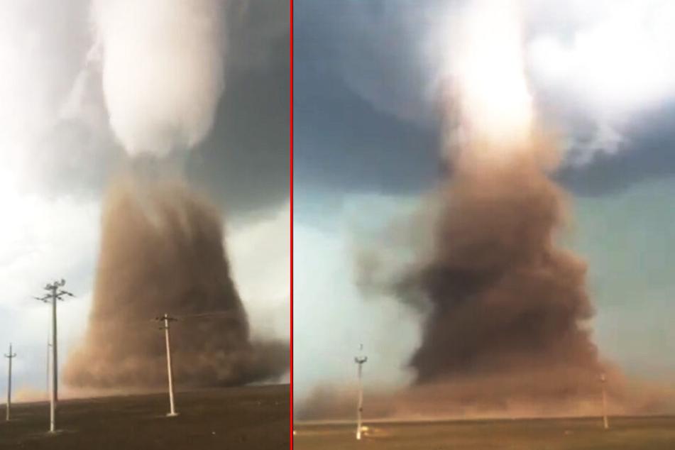 Videos auf Facebook zeigen den gigantischen Tornado.
