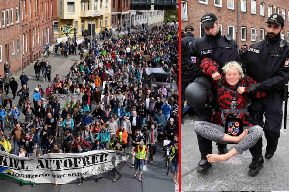 Klima-Demo sorgt für Aufregung in Kiel: kein Verkehrschaos, dafür greift die Polizei durch