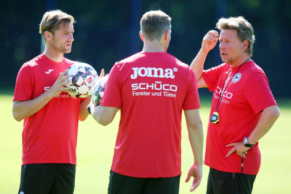 Arminias Trainerteam (v.l.): Sebastian Hille, Carsten Rump und Jeff Saibene.
