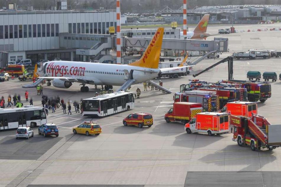 Großeinsatz der Feuerwehr am Airport: Flugzeug nach Landung evakuiert!