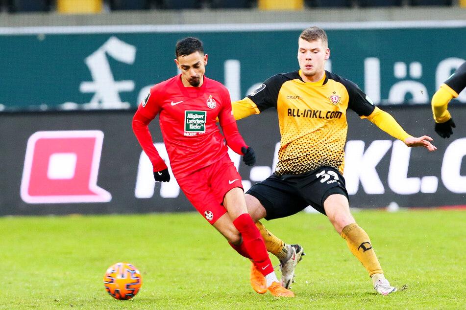Dynamos Kevin Ehlers (20, l.), hier im Zweikampf mit dem Lauterer Kenny Prince Redondo (26), ist - abgesehen acht Münchener Profis - der wertvollste Spieler der 3. Liga.