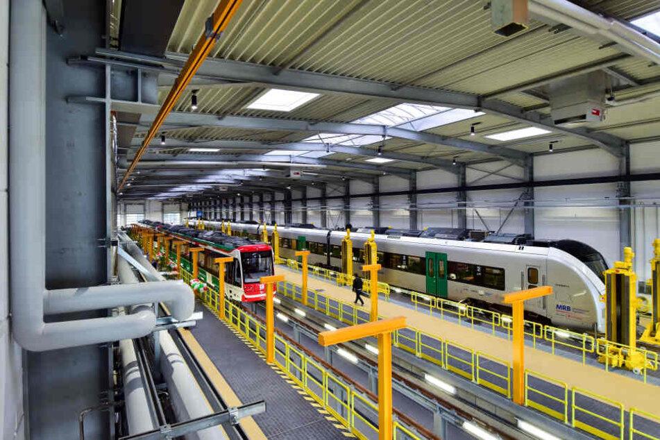 Im Eisenbahnbetriebshof in Chemnitz stehen noch immer neun silberne  Elektrozüge des Herstellers Alstom.