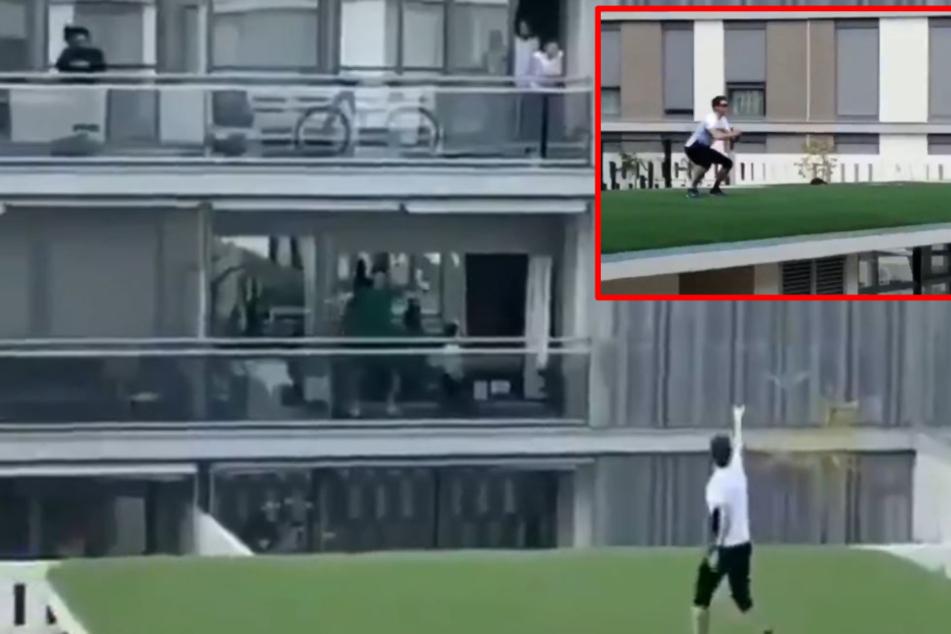 Quarantäne? Dieser Fitness-Coach trainiert Anwohner auf ihren Balkonen!
