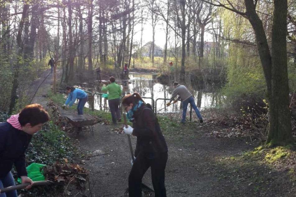 In ganz Leipzig packen hunderte freiwillige Helfer mit an, so wie hier, in Lieberwolkwitz.