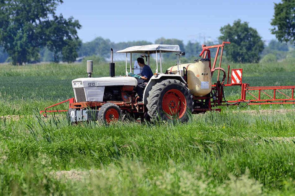 Der Traktorfahrer wollte Schneckenmittel streuen, als er seinen Fuß in dem Anhänger einquetschte.