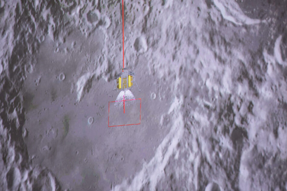 Die Aufnahme zeigt die Landung der chinesischen Sonde auf dem Mond.