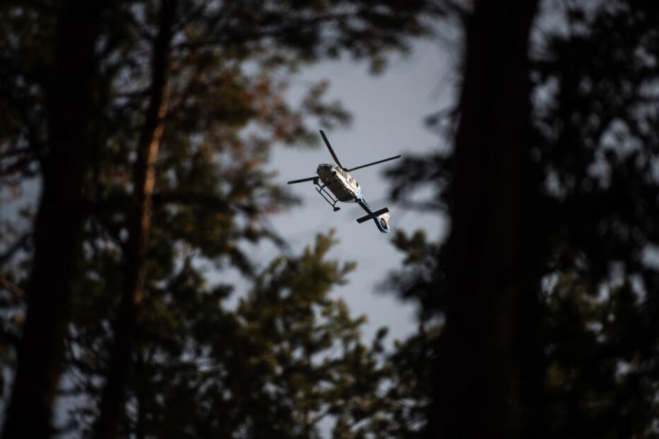 Ein Polizeihubschrauber überflog das Waldstück. (Symbolbild)
