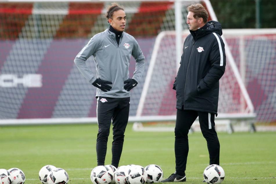 Yussuf Poulsen (li.) und Trainer Ralph Hasenhüttl (re.) sehen sich am Dienstag wieder.