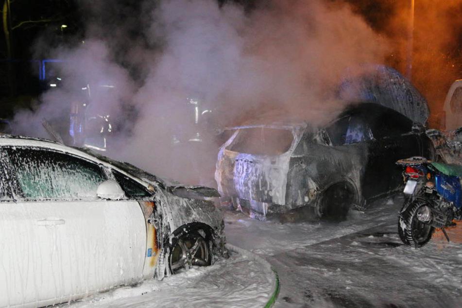 Zwei Autos und ein Motorroller wurden durch die Flammen schwer beschädigt.