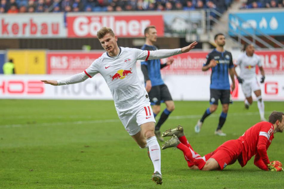 Torgarant Nummer eins bei RB Leipzig: Timo Werner traf auch in Paderborn, steht nun bei 13 Toren in 13 Ligaspielen. Wettbewerbsübergreifend war er in 20 Partien an 26 Buden direkt beteiligt.