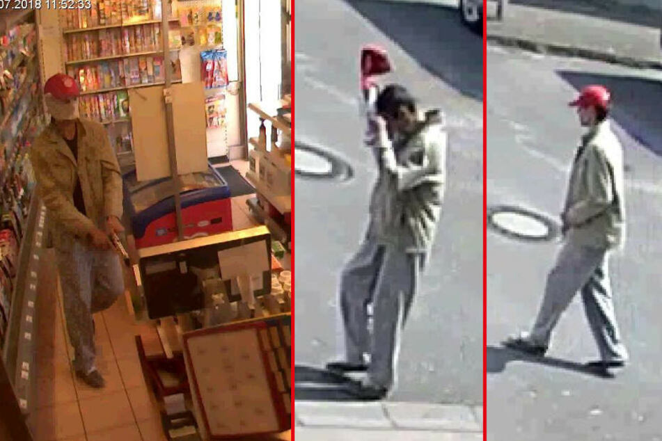 Die Bilder zeigen den Tatverdächtigen in der Tankstelle und kurz vor dem Betreten.