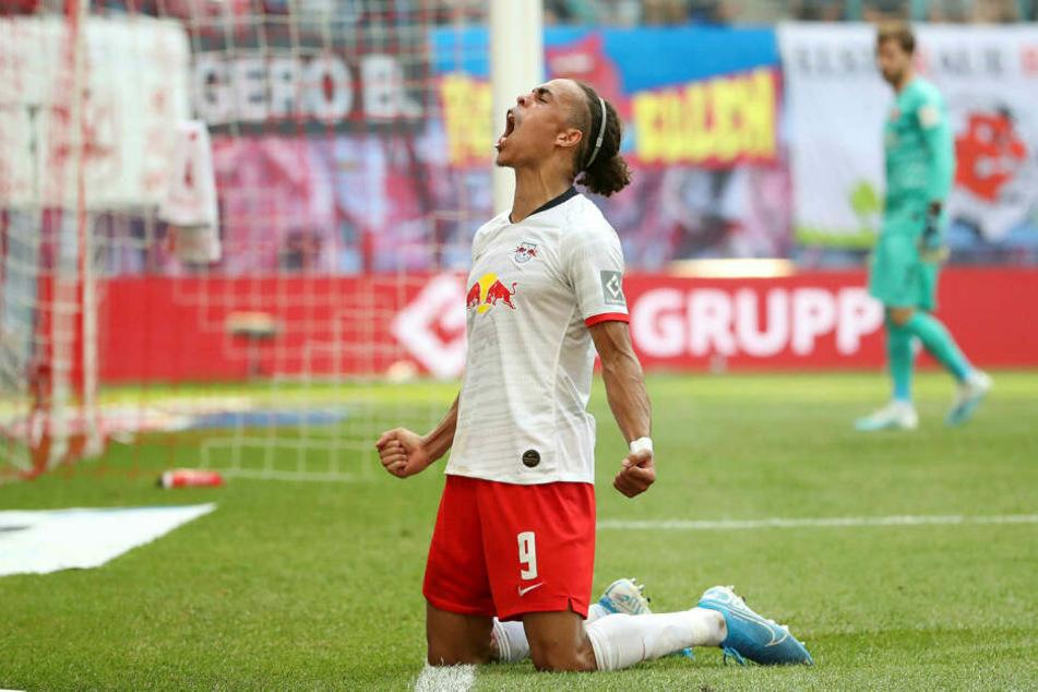 Stürmer Yussuf Poulsen freut sich schon auf die zweite Champions-League-Saison mit RB Leipzig.