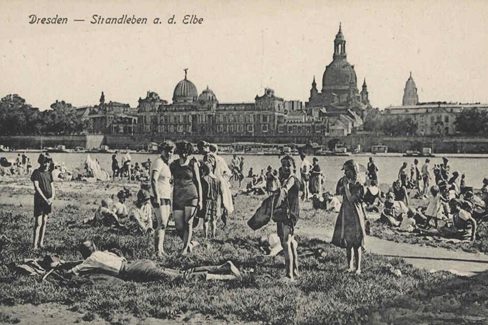 Schon 1925 gab's den Badespaß mit Blick auf Dresdens Altstadt-Silhouette. Damals aber noch züchtig bedeckt ...