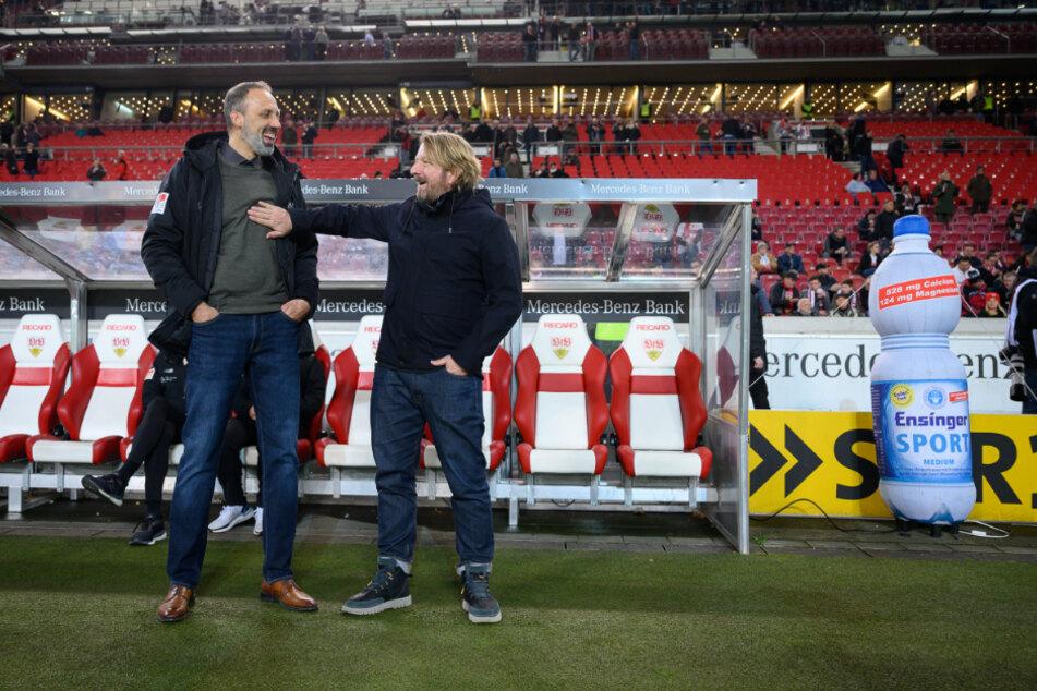 Haben Spaß: VfB-Coach Pellegrino Matarazzo und sein Sportdirektor Sven Mislintat.