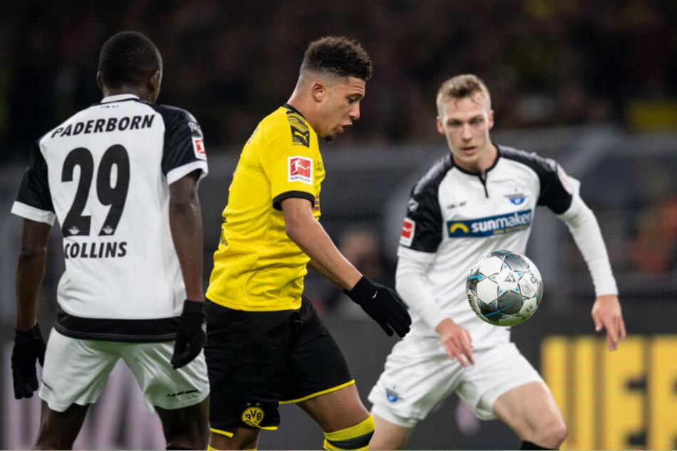 Jadon Sancho beim denkwürdigen 3:3 gegen Paderborn am Freitag.
