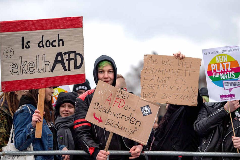 Spruchbänder der Demonstranten in Riesa.