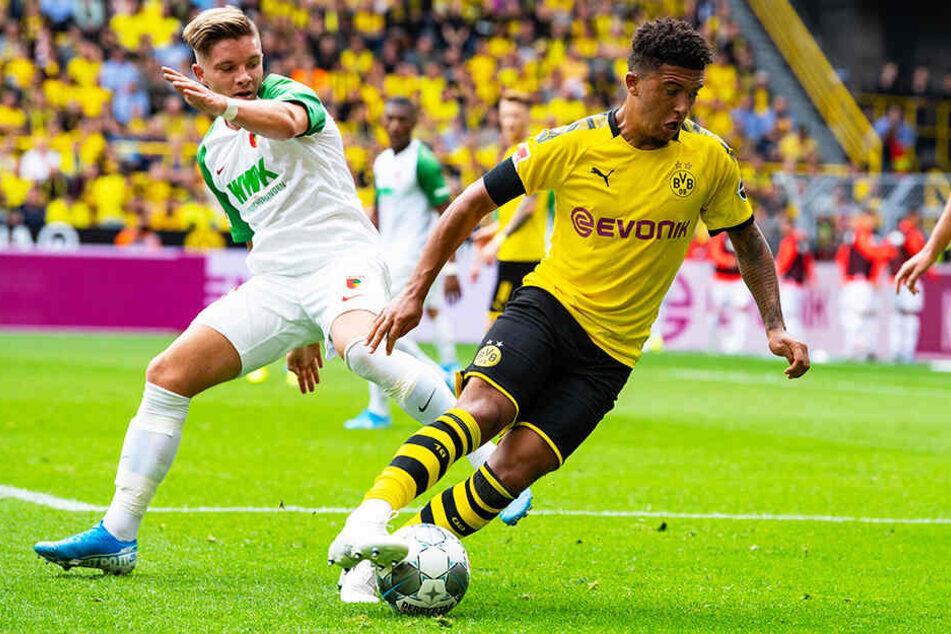 Jadon Sancho (r.) brachte den BVB mit seinem Tor zum 2:1 endgültig auf die Siegerstraße.