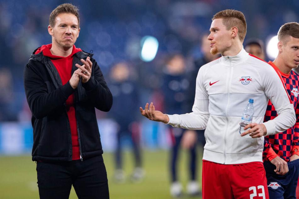 Not bad! Mit dem höchsten Bundesliga-Auswärtssieg am Ende einer Englischen Woche hätte RB-Coach Julian Nagelsmann (l.) sicher auch nicht gerechnet.