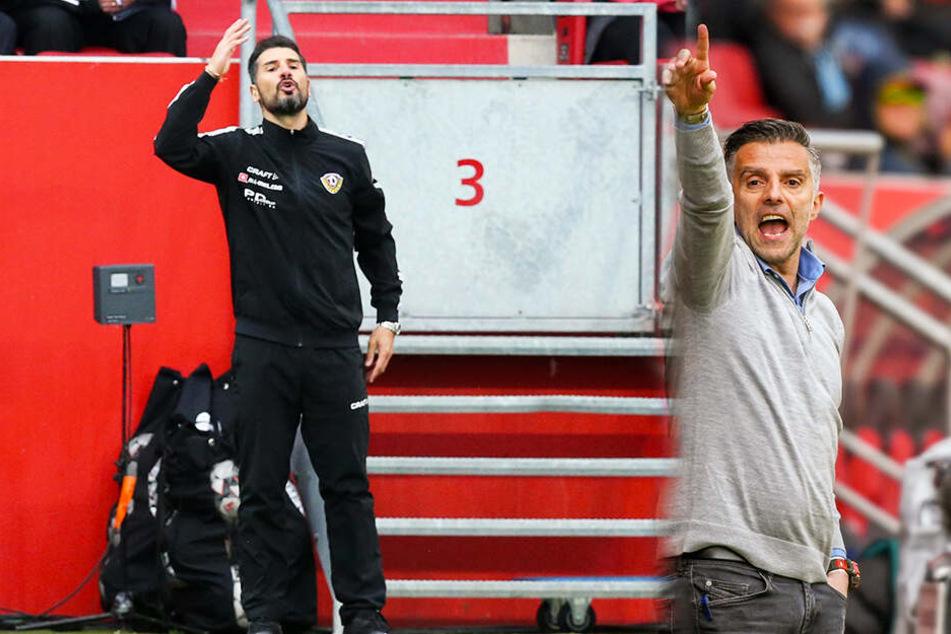 Eiszeit herrschte nach der Partie zwischen Ingolstadts Trainer Tomas Oral (r.) und seinem Dynamo-Kollegen Cristian Fiel (l.).