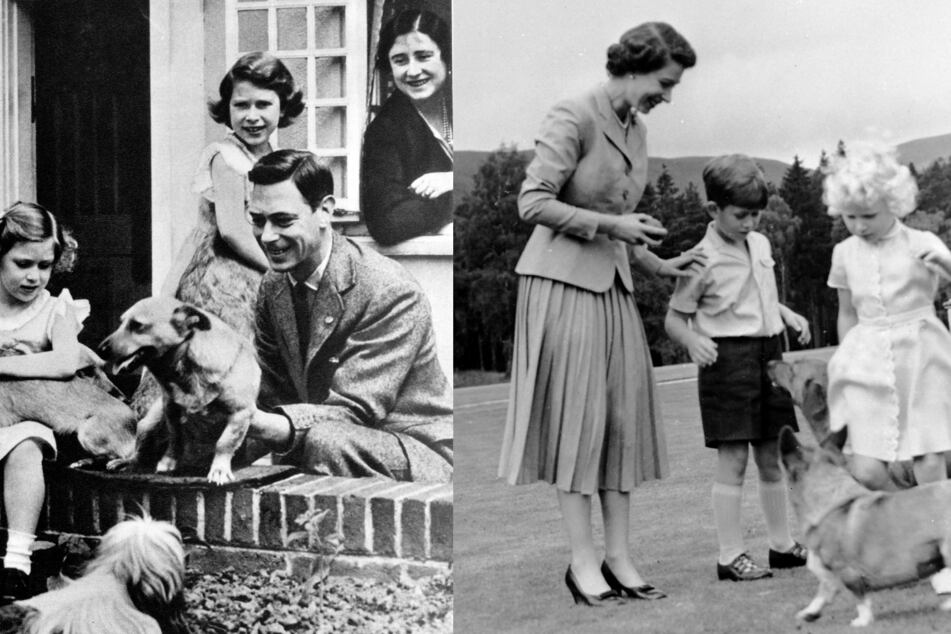 Left: Duke and Duchess of York (later King George VI and Queen Elizabeth) with both daughters, Princess Elizabeth and Princess Margret; right: the royal family play with their corgis.