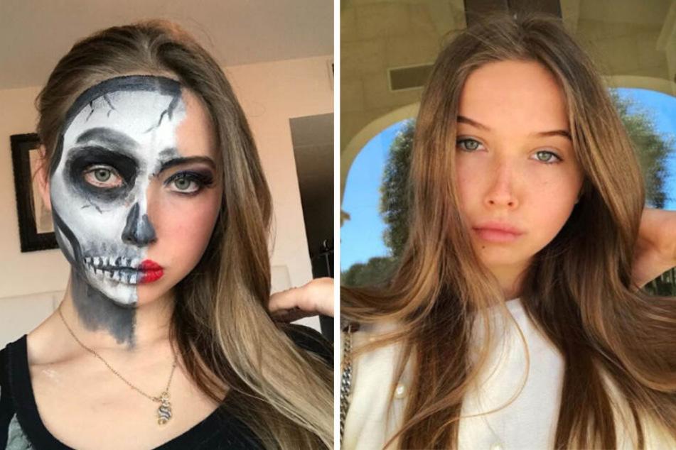 Kaum wiederzuerkennen: Davina Geiss mit Totenkopf-Make-up.