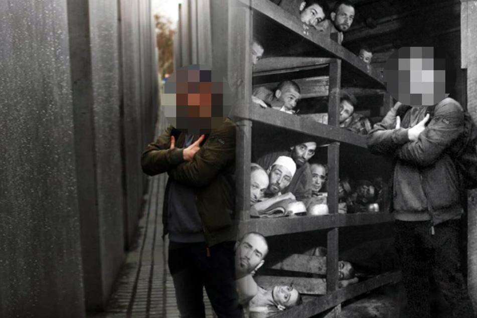 Der lässig posierende Typ steht plötzlich mitten im Vernichtungslager.