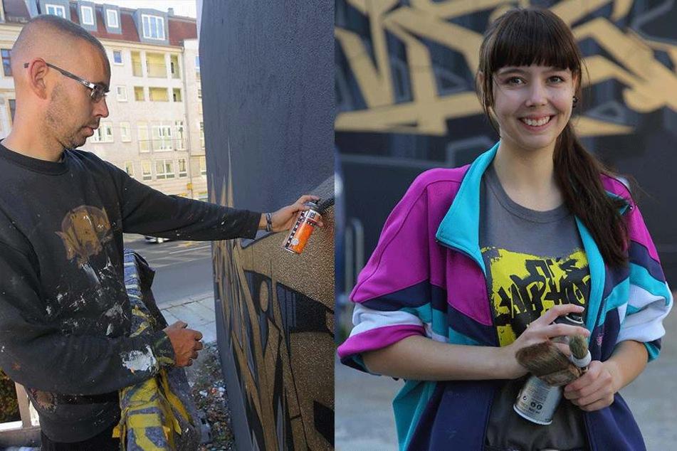 """Rechts: Sebastian Girbig alias """"Slider"""" (41) ist Teil des Künstler-Kollektivs  """"Bandits Dresden"""". Links: Illustratorin Lisa Schilling (23) hat ebenfalls kreative Ideen für die  Wandgestaltung geliefert."""