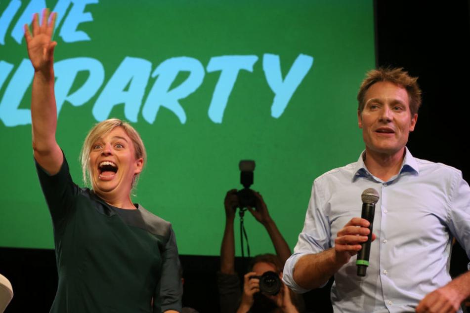 Katharina Schulze und Ludwig Hartmann hatten nach dem Wahlerfolg der Grünen allen Grund zur Freude.