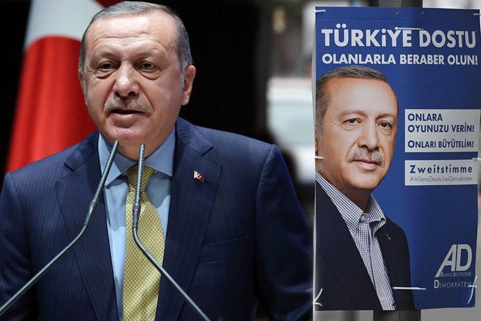 In Deutschland: Partei wirbt mit türkischen Erdogan-Plakaten!