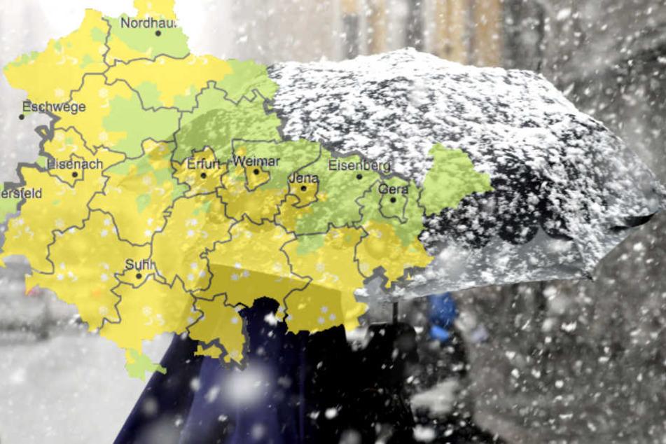 Laut Deutschem Wetterdienst sind bis zu fünf Zentimeter Schnee im Thüringer Wald drin.
