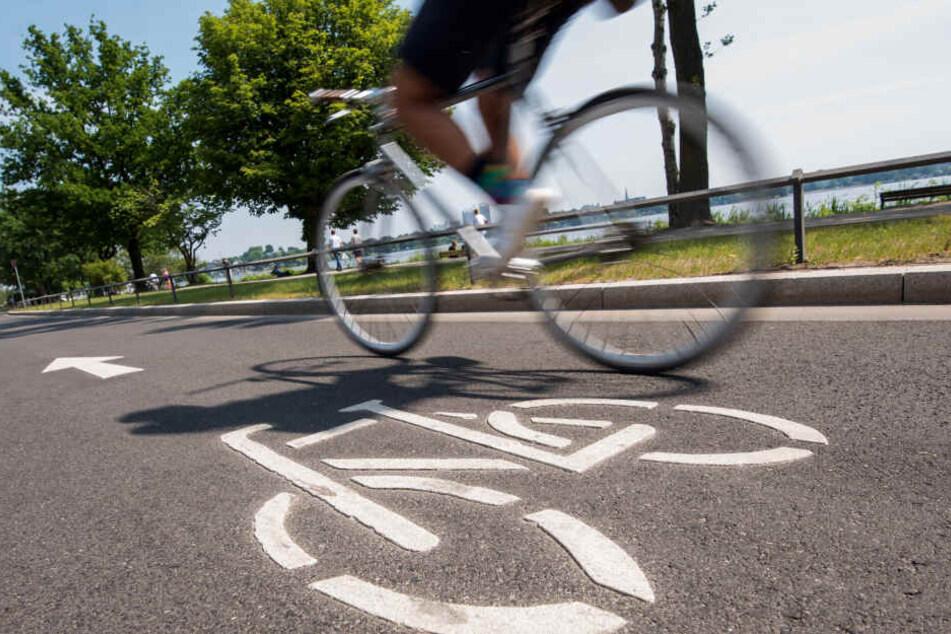 Ein Fahrradfahrer fährt auf einer Fahrradstraße an der Außenalster. Trotz Investitionen auf Rekordniveau kommt der Ausbau des Radwegenetzes in Hamburg langsamer voran als erhofft.
