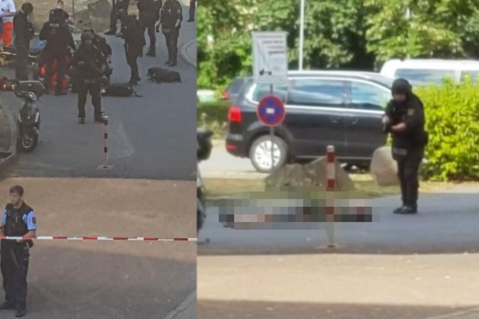 Großer Polizeieinsatz in Mickten: Person liegt auf der Straße