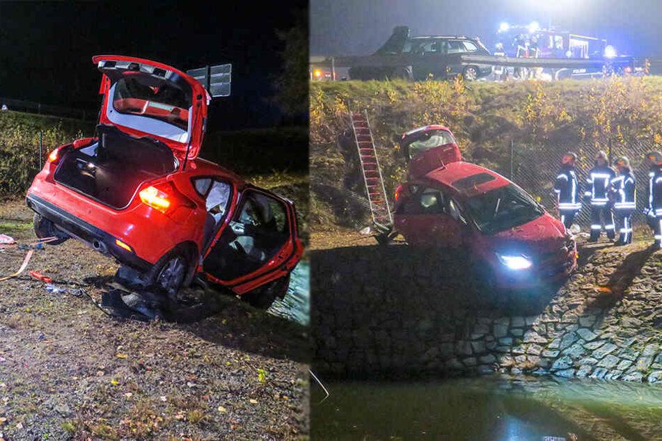 Verletzte bei Unfall im Erzgebirge: Ford rutscht Hang hinab