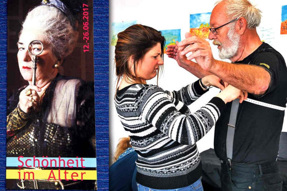 Helmut Kutschke (70) lässt sich von Initiatorin Evelyna Schubert (46) vermessen.