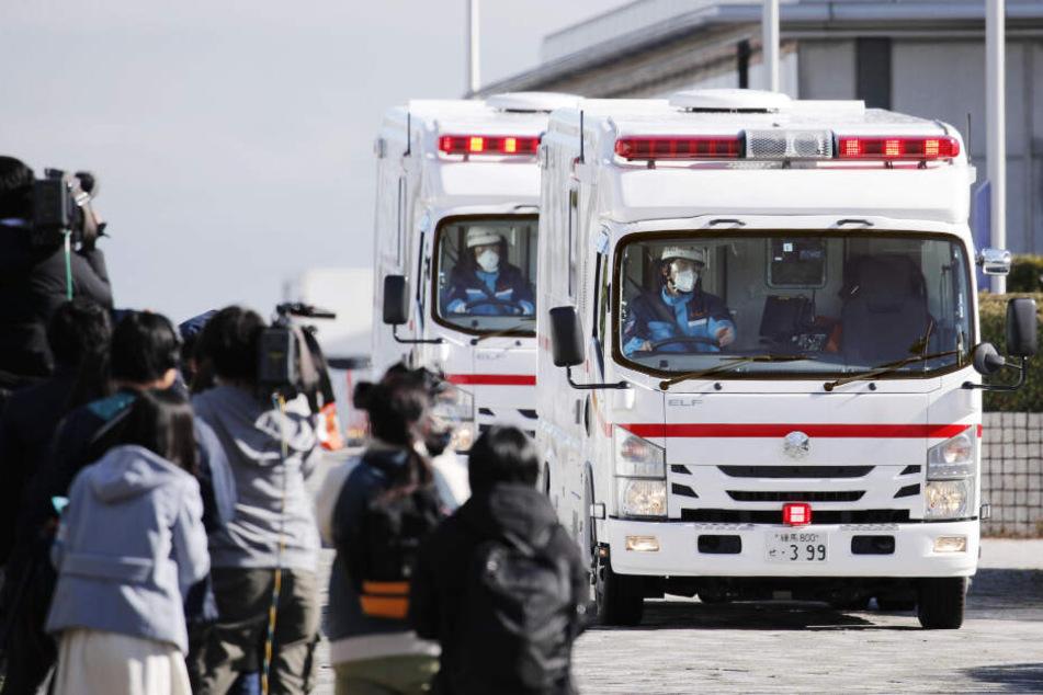Zwei Krankenwagen verlassen den internationalen Flughafen Haneda, nachdem eine Chartermaschine der japanischen Regierung Personen aus dem chinesischen Wuhan zurückholte.
