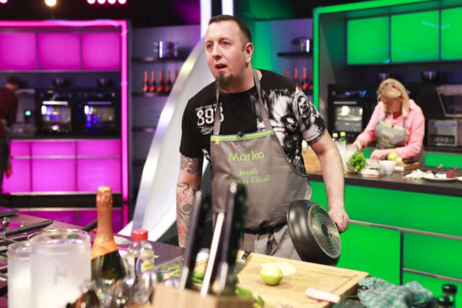"""Kam im wahrsten Sinne des Wortes auf den letzten Drücker in die nächste Runde: Wirt Marko (36) aus Stauchitz darf auch Mittwoch wieder bei """"The Taste"""" kochen."""